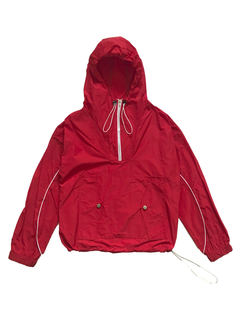 Nylon Pullover Hoodie Red Front